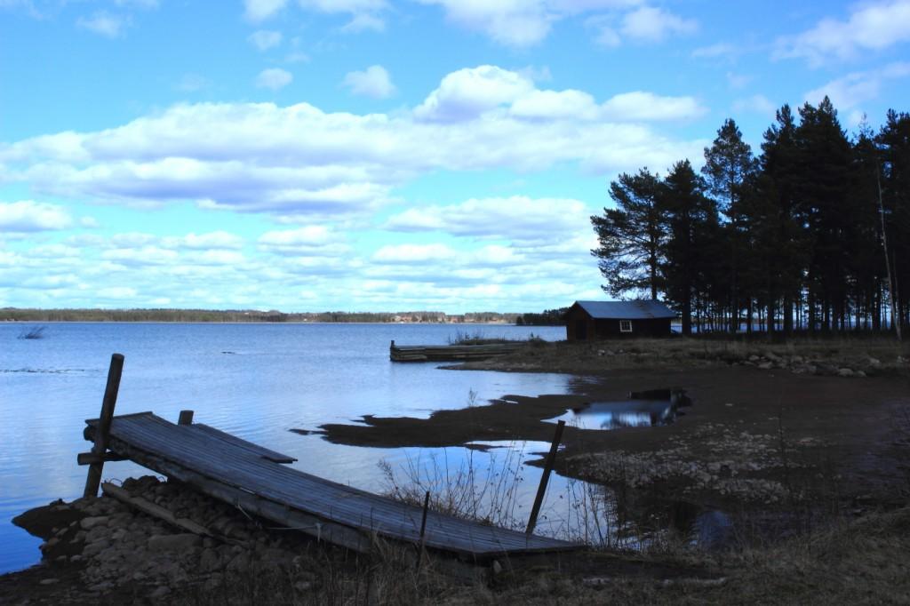Ponton lac Siljan, Dalécarlie, Suède