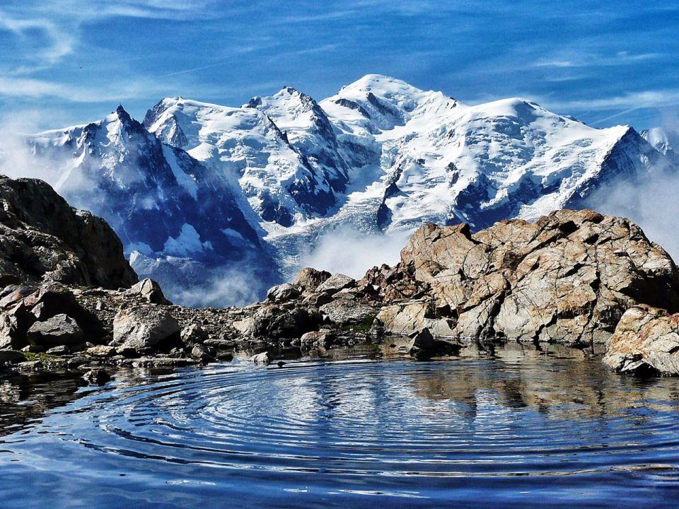 vue sur le Mont Blanc depuis le lac blanc