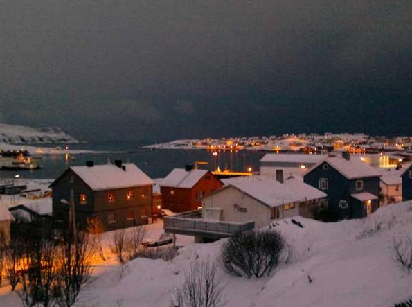 Village de Mehamn sous la neige