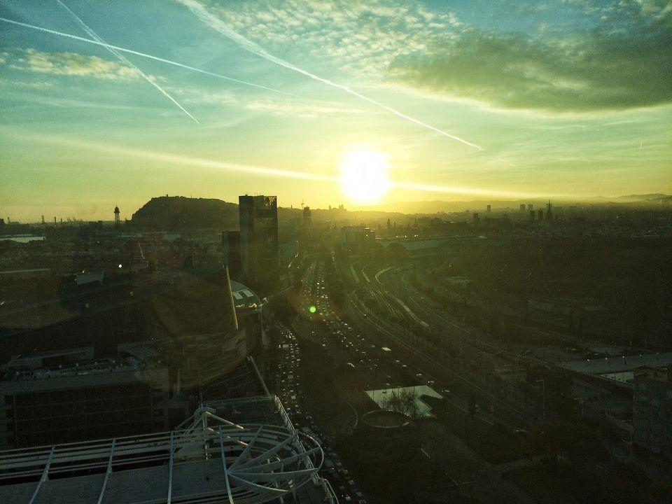 coucher du soleil sur Barcelone