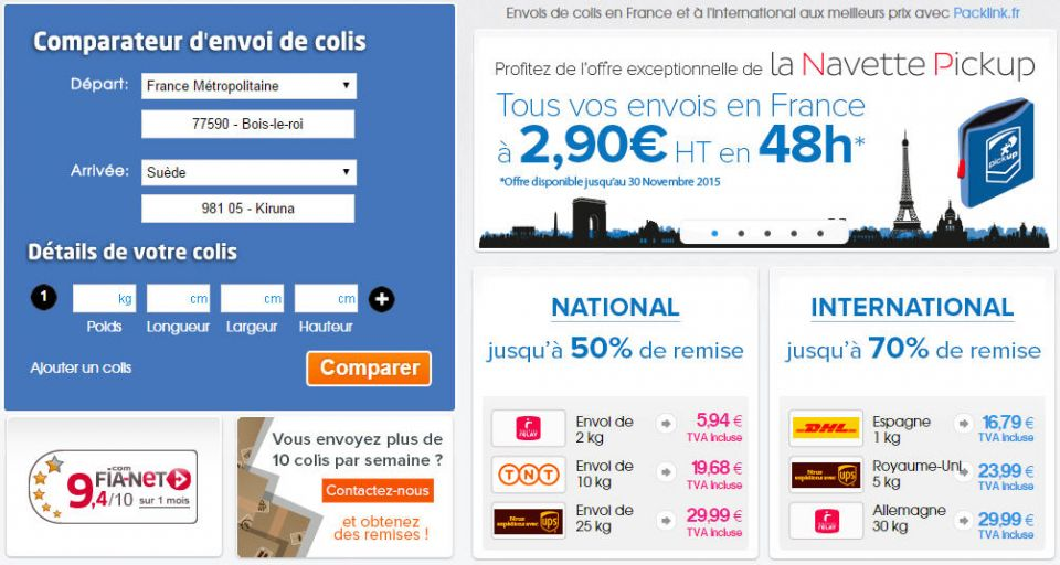 Comparateur de colis Packlink